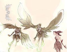 大きな羽根を持つ人型のキャラクター