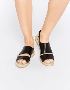 Pieces+Jade+Black+Leather+Espadrille+Flat+Sandals