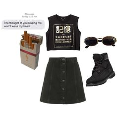 grunge by comerttaylan on Polyvore featuring Monki, Topshop, Timberland, Versace and vintage
