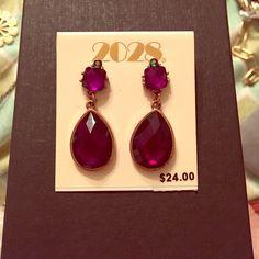 Deep purple costume jewelry earrings! Brand new deep purple teardrop earrings with tiny emerald stone! Perfect to dress up any occasion! Macy's Jewelry Earrings