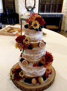 Naked sponge wedding cake - autumnal