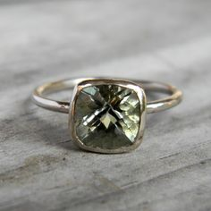 Cushion cut mega-sparkle green amethyst (prasiolite) ring.