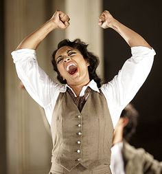 Soprano Daniela De Niese showing us that it's not only the mezzos that can don the white shirt.