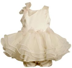 $34.80-$58.00 Baby Bonnie Baby Girls Infant Satin Bodice To Organza Tiered Skirt, Ivory, 18 Months - Your sweet little girl will adore this darling Bonnie Jean ivory satin dress this spring Easter season.  Exquisite boutique detailing includes soft organza tiers with ivory surged edges, sheer pink bow embellishments and coordinating bloomers for your little lady's bumper.  Dress is fully lined a ...