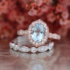 Bridal Set Vintage Floral Aquamarine Engagement Ring 14k Rose Gold and Bezel Scalloped Diamond Wedding Band 14k White Gold (Mix & Match)