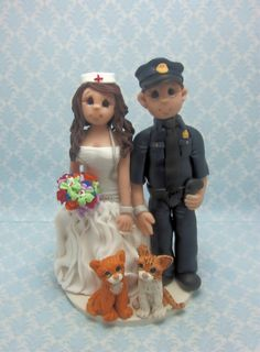 Police Officer and Nurse Wedding Cake topper by lynnslittlecreations on Etsy