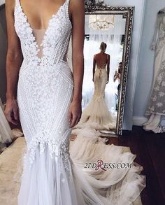 2017 Appliques V-Neck Elegant Mermaid Open-Back Wedding Dress_High Quality Wedding Dresses, Prom Dresses, Evening Dresses, Bridesmaid Dresses, Homecoming Dress - 27DRESS.COM
