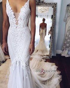 2017 Appliques V-Neck Elegant Mermaid Open-Back Wedding Dress_High Quality Wedding Dresses, Prom Dresses, Evening Dresses, Bridesmaid Dresses, Homecoming Dress - 27DRESS.COM