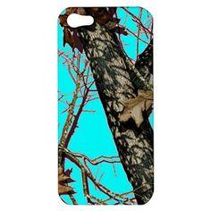 Womens Girls Aqua Realtree Camo Apple iPhone 5 Hardshell Case