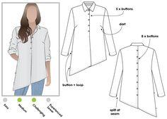 Asymmetrical hem over shirt with an on-trend back treatment
