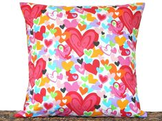Hearts Valentine Pillow Cover Cushion Multicolored Red Pink Orange Turquoise Lime Green Purple White Decorative 18x18 - pinned by pin4etsy.com