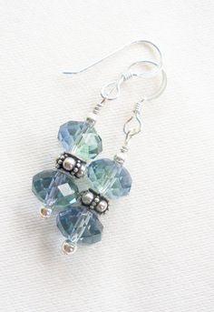 sterling silver crystal earrings 8mm lavender-chrysolite briolette swarovski crystal amber on Etsy, $15.00