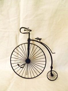 Vintage Miniature Old Time Three Wheel Bicycle-Bike- Antique Big Wheel Old Style Bicycle Metal Table Top Display- Standing Collectible Bike