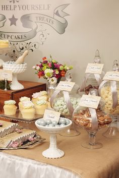 Photo 3 of 50: lollies & cupcakes in a vintage garden setting / Mothers Day Mothers Day Garden sweets table | Catch My Party