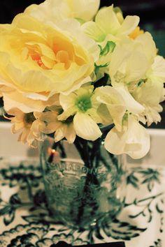 Fake flowers in mason jars