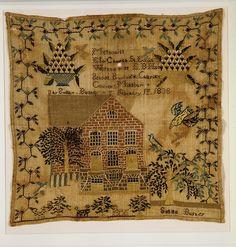 Susan Bushey Fecha: 1838 Geografía: Hecho en Chariton, Brunswick, Missouri, Estados Unidos Cultura: Americana Medio: lino bordado con seda Dimensiones: 16 3/8 x 16 5/8 in (41,6 x 42,2 cm).