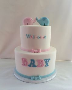Gender Neutral Baby Shower Cake with Fondant Elephant Toppers - Kyrsten's Sweet Designs | Custom Designed Cakes and Cookie Favors