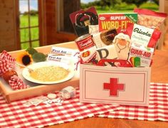Get Well Gift Basket ideas -- chicken noodle soup, puzzle book, cough drops, band aids, tea, honey sticks, pocket tissue pack, fleece blanket, deck of cards, stuffed animal, ginger candy (for nausea)