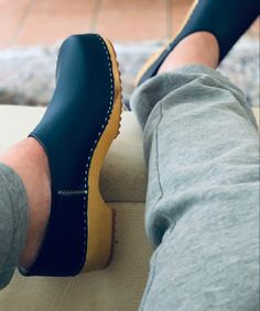 Clogs, Kai, Chelsea Boots, Ankle, Wood, Blue, Fashion, Leather, Clog Sandals