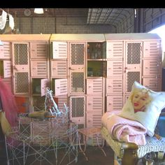Old lockers are actually pretty easy to find and make great tack room features for private and boarding barns. To spruce up a dull color paint, repaint with spraypaint made for appliances, or for fun colors like this pink drop them off at an auto paint shop.