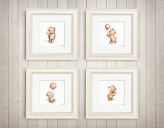 Set of 4 Cute Teddy Bears - Archival Prints- Animal Nursery Wall Set - Children's Art - Nursery Wall Art - Children's illustration by AnnaAbramskaya on Etsy