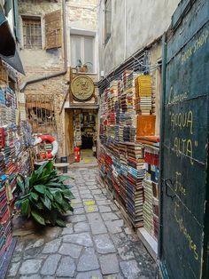 Acqua Alta Bookstore in Venice, Italy.