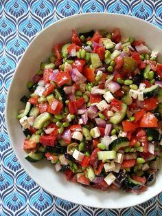 Greek Edamame Salad- edamame, cucumber, red pepper, kalamata olives, feta, Greek dressing