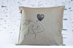 Girl with Swallow. Swallow, Screen Printing, Pillow Cases, Throw Pillows, Unique Jewelry, Handmade Gifts, Etsy, Vintage, Screen Printing Press