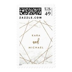Faux Marble and Copper Geometric Wedding Postage