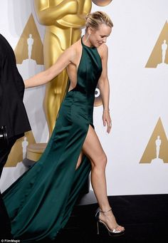 Leggy lady: The actress flaunted her toned legs in high heels as she made the rounds backs...