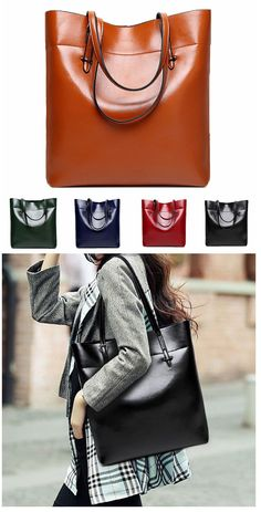 Fashon Women's Leather Handbag,Simple Casual Shoulder Big Bag Tote,five colors for you choose.Leather,solid color and simple style.