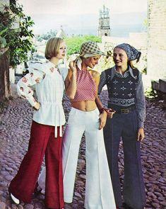 """Bobbie Brooks in Mexico…What a view! Pants Puerto Vallarta fashion."" - Seventeen magazine, April 1973."