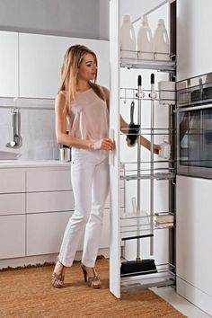 Filler Pullout Broom Holder Soft-Close Right -- mechanism fits into cabinet. This would be perfect if there was a way to fit the ironing board too. Broom Closet Organizer, Broom Storage, Fridge Storage, Laundry Room Organization, Laundry Room Design, Diy Organization, Laundry Storage, Küchen Design, House Design