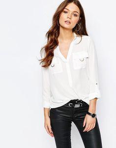 Image 1 ofNew Look Gold Ring Pocket Shirt