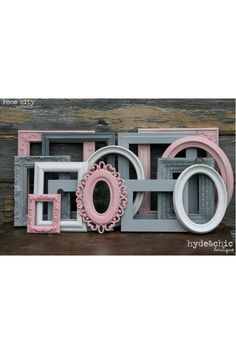 shabby chic decor, wall frames, color schemes, baby girl rooms, girl nurseries, old frames, babi girl, baby girls, picture frames