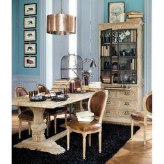 Mesa de comedor de madera efecto envejecido An. 220 cm Lourmarin   Maisons du Monde
