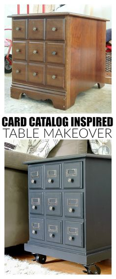 A $15.00 Goodwill side table gets a vintage card catalog inspired makeover!