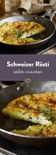 Ob rohe oder Pellkartoffeln, mit Milch übergossen oder ohne, Rösti oder Röschti - Hauptsache der Fladen aus geriebenen Kartoffeln ist knusprig gebraten.
