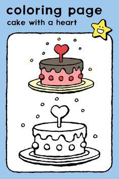 cake with a heart, coloring pages, colouring picture, kids, baking, cake and ice-cream, birthday • taart met een hart, kleurplaat, kleurprent, kinderen, bakken, taart en ijsjes, verjaardag • Torte mit einem Herz, Ausmalbilder, Malvorlagen, Kinder, Backen, Torten und Eis, Geburtstag • gâteau avec un coeur, coloriage, image à colorier, enfants, boulangerie, gâteaux et glaces, anniversaire #freebie #ColoringPages #kleurplaat #Ausmalbilder #coloriage #kids #kinderen #Kinder #enfants #birthday… Birthday Coloring Pages, Big Kiss, Saint Nicholas, Addressing Envelopes, Nouvel An, Educational Games, Colorful Pictures, Girl Birthday, Coloring Books