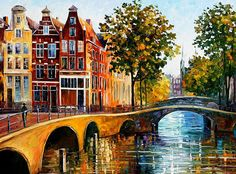 The Gateway To Amsterdam - Palette Knife Oil Painting On Canvas By Leonid Afremov by Leonid Afremov