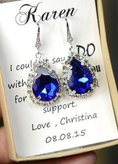 Royal blue, cobalt blue ,Bridesmaid jewelry sapphire blue Gold Drop Earrings Wedding Wedding Dangle Earrings Bridal Jewelry  Bridesmaid Gift