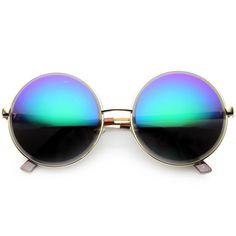 - Description - Measurements - Shipping - High fashion designer inspired oversized round metal sunglasses feature a unique etched edge around the lenses and a beautiful color mirrored lens. A wonderfu