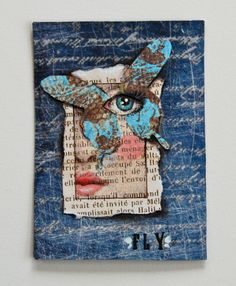ATC - Liza of Liza Zeni Nice #collage #art piece with text, butterfly, and portrait unified with blue.