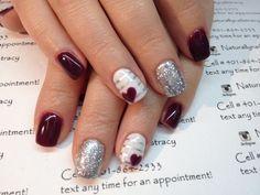 #nailart #nails #valentinesnails #holidaynails #gelmanicure #glitternails #red #silver