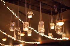 Hanging Mason Jars At Wedding