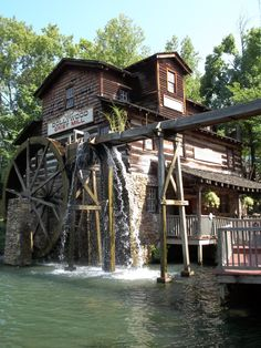 Teske Goldsworthy Teske Goldsworthy Davis Wood Park's Grist Mill, serving delicious cinnamon bread all day! Season passes were fun! Us Vacation Spots, Vacation Wishes, Windmill Water Pump, Home And Family Tv, Water Wheels, Water Powers, Water Mill, Mountain Vacations, States In America
