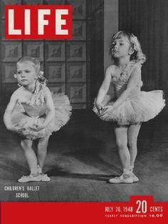 Vintage Life magazine black and white photograph, little ballerinas