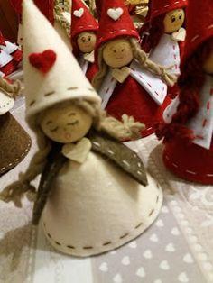 Christmas Ornaments, Green Christmas Angels, Tree Decorations - SET of 3 Felt Christmas Ornaments, Christmas Gnome, Christmas Makes, Angel Ornaments, Green Christmas, Christmas Angels, Simple Christmas, Christmas Art, Christmas Projects