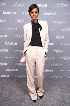 Liya Kebede in an off-white suit with a black blouse at the 2015 Glamour Women Of The Year Awards.