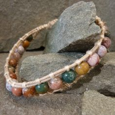 Multicolored Fancy Jasper on a Single Wrap Bracelet - Natural Jewelry | TBeads - Jewelry on ArtFire Click to see more http://www.artfire.com/ext/shop/product_view/tbeads/3427497/multicolored_fancy_jasper_on_a_single_wrapped_hemp_bracelet/handmade/jewelry/bracelets/gemstone